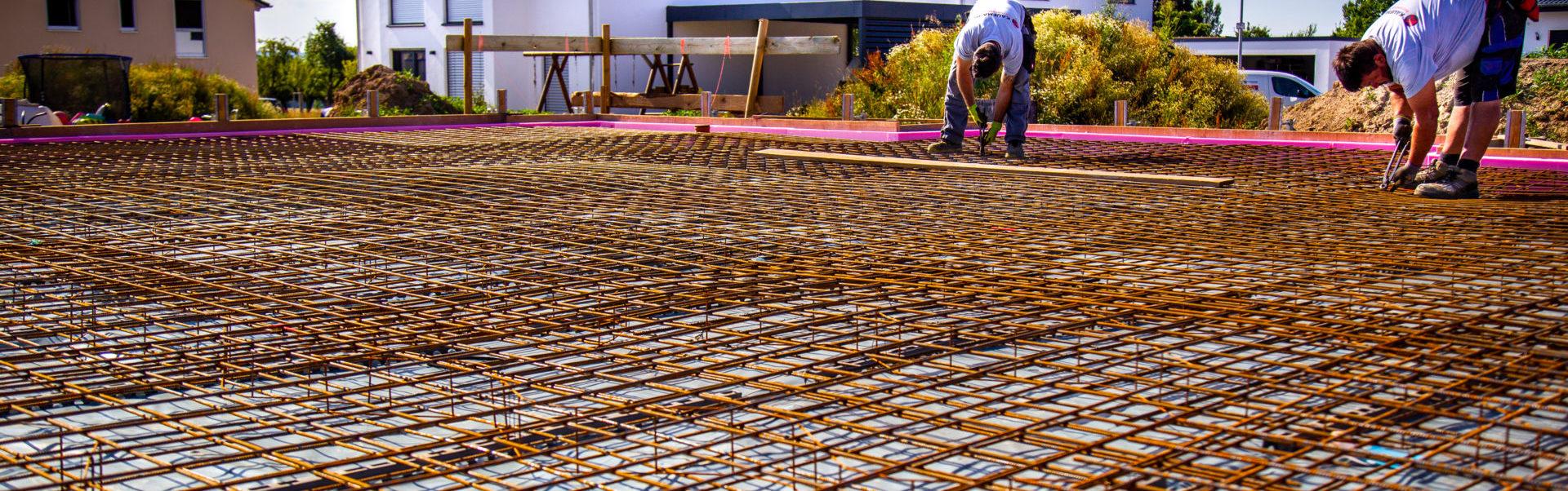 Bodenplatte vorbereiten Bewehrung legen